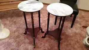 Marble topped wood tables ($25 each)