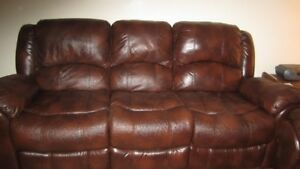Genuine All-Leather Brown Couch Set for Sale.