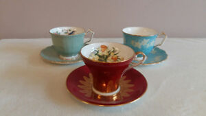 Aynsley cup and saucers, set of 3
