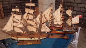 2 vintage model ships hand made $20 each or 2 for $30
