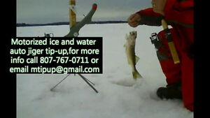 Motorized auto jigger tip-up for water or ice fishing