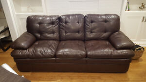 Three seat leather couch great condition