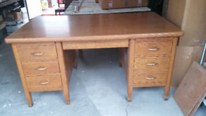 Antique Solid Oak Office Desk and Swivel Chair