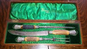 antique boxed carving set, sheffield blade, horn, silver