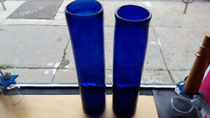 TWO VERY  TALL HAND-BLOWN BLUE GLASS VASES/UMBRELLA STANDS