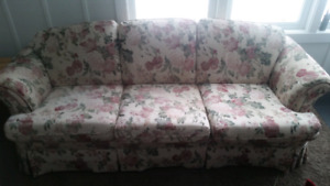 Chair, love seat couch and tv stand.