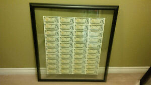 Framed Sheet of uncut Dollar Bills