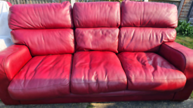 Red leather settee
