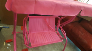 Pink Swing Chair with Canopy for Outdoor