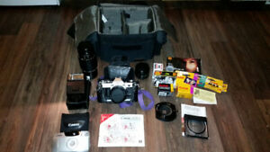 Canon AE1 35mm Film SLR camera kit, accessories, filters, lenses