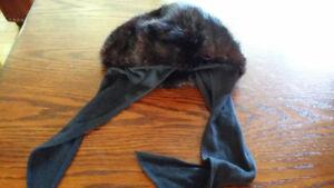 Chapeau femme fourrure rat musqué (noir)