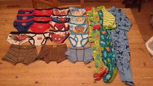 Lot de 19 sous vêtements et 3 pyjamas grandeur 2 ans