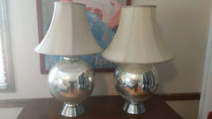 "Set of 2 MCM Chrome Lamps 26.5"" Height"