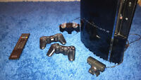 PS3, 2 controllers + Charger, PS Eye Camera, Media Remote