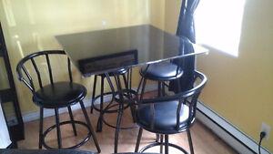 table bistro vitre noire comme neuve