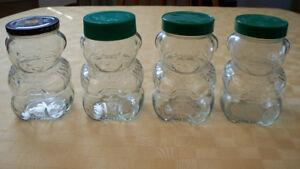 4 Vintage Teddy Bear Toy Soldier Jam Jars