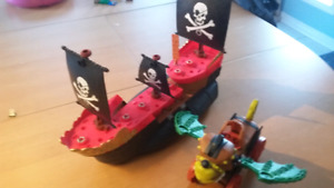 Matchbox Mega Pirate Ship and Imaginext Catapult Dragon