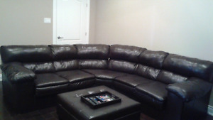 Dark Brown Faux Leather Sectional Couch