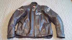 Alpinestars motorcycle leather jacket with protective gear