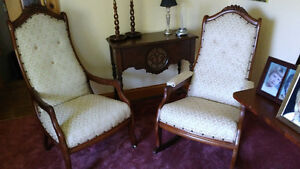 Antique matching Rocker & Chair with grape carving