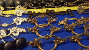 Vintage Antique Brass Cabinet Door Handle Pulls