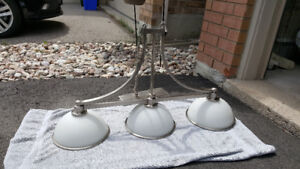 Brushed nickel 3-shade light with white glass