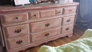 Refinished Solid Wood Dresser, Drawer and Side Table Moving Sale