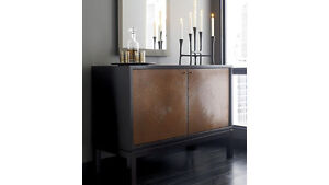 CRATE & BARREL BUFFET SIDE BOARD MEDIA STORAGE-2 COPPER DOORS