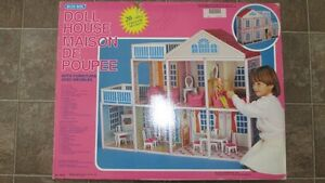 NEW- Vintage Blue Box - Doll House with Furniture