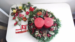 New Christmas wreath on tray with candles or best offer