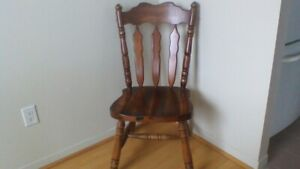 2 Dark Pine Wood Chairs Dining Room or Kitchen