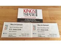 2 tickets to see 10cc at Kings Theatre Southsea, Tue 11 October 7.30pm