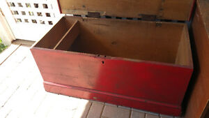Old Dovetailed Red Pine Box, Blanket Box, Hope Chest.