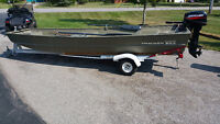 Jon Boat 2015 Tracker Topper 1542 with 15 hp motor and trailer
