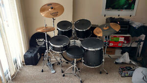Beginner Drum Set with Cymbals, Sticks and Bongos
