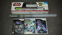 3 Wii star wars games + 2 lightsabers