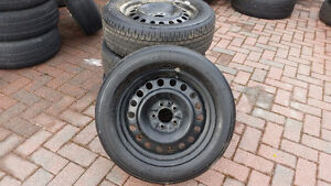 """Four 17"""" Firestone Affinity tires on 5 bolt rims. Good Condition"""