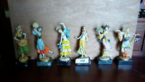 Set of Six Figurines Italy on Genuine Carrara Marble