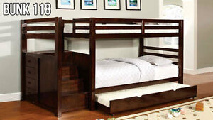 Bunk Bed with Stairs - Much safer than a ladder! (Bunk 118) (Twin/Twin and Twin/Double)