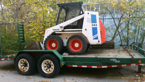 Bobcat 743 with Bucket, Trailer and Backhoe Attachment