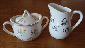 Hand Painted Gold & Blue Cream & Sugar Set From Japan For Sale!