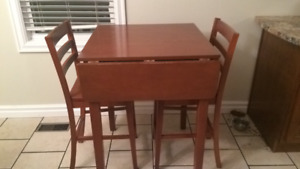 Pub style kitchen table with 2 chairs