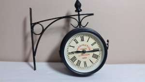 Double sided train station Style wall clock