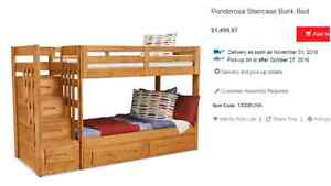 Ponderosa Staircase bunkbed with trundle under bed and storage