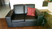 BLACK LEATHER 2 PC. SOFA SET WITH PULL OUT BED