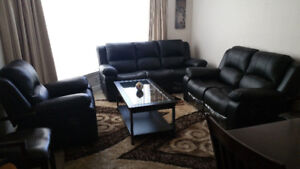 Genuine Leather reclining couches sofas with coffee table