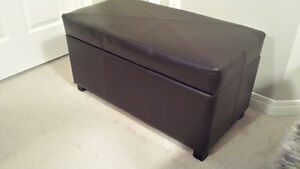 Brown Faux Leather Storage Ottoman FOR SALE