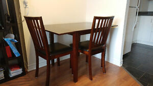 Square Kitchen Table with Leaflets and Chairs in Great Condition