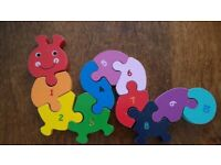 Wooden Toy Caterpillar With Numbers 1-10