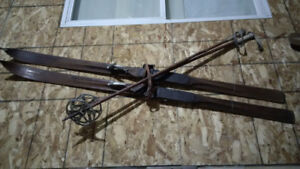 Vintage Cross Country Skis and Poles from the 1930s